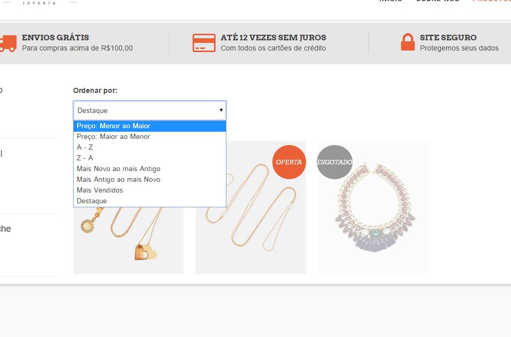Ordenar por - Luxury - Template Nuvem Shop